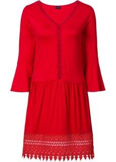 Платье в стиле бохо с аппликацией (красный) Bonprix