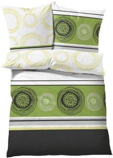 Постельное белье в стиле поп-арт Круги, линон (зеленый) Bonprix