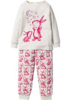 Пижама (2 изд.) (натуральный меланж/ярко-розовый) Bonprix