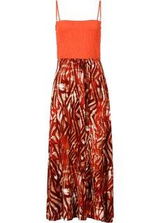 Платье в стиле бандо (оранжевый матовый с рисунком) Bonprix