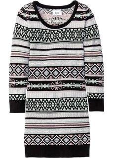 Вязаное платье (черный/мятный с узором) Bonprix