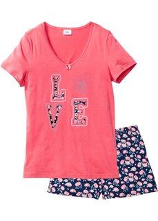 Пижама (нежный ярко-розовый/темно-синий в цветочек) Bonprix