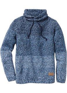 Пуловер Slim Fit с высоким воротом (синий меланж) Bonprix
