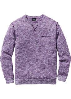 Пуловер Regular Fit (виноградный/белый меланж) Bonprix