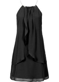 Шифоновое платье с американскими проймами (черный) Bonprix