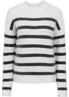 Пуловер прямого покроя (цвет белой шерсти/антрацитовый в полоску) Bonprix