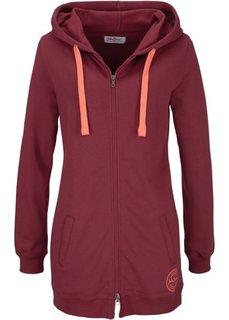 Удлиненная трикотажная куртка (бордовый) Bonprix