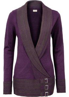 Вязаный пуловер (темно-лиловый) Bonprix