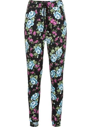 Трикотажные брюки (черный в цветочек)