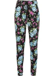 Трикотажные брюки (черный в цветочек) Bonprix