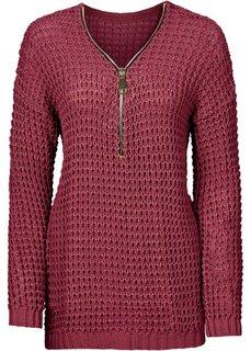 Вязаный пуловер с вырезом на молнии (бордовый) Bonprix