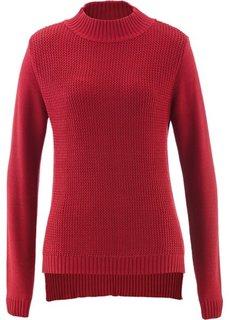 Пуловер с воротником-стойкой и структурным узором (темно-красный) Bonprix