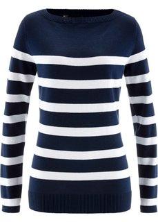 Пуловер с вырезом-лодочка и длинным рукавом (темно-синий/белый в полоску) Bonprix