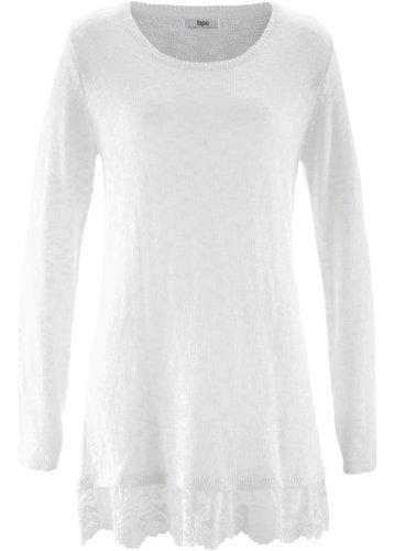 Пуловер с длинным рукавом и кружевной отделкой (цвет белой шерсти)