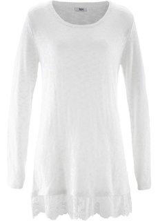 Пуловер с длинным рукавом и кружевной отделкой (цвет белой шерсти) Bonprix