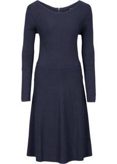 Вязаное платье в резинку (темно-синий) Bonprix