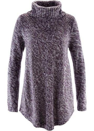 Пуловер-пончо с длинным рукавом (темно-лиловый меланж)