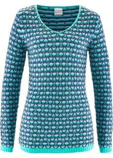 Пуловер (бирюзовый/королевский синий/белый/темно-зеленый с узором) Bonprix