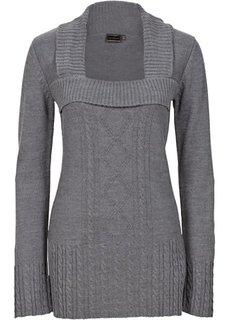 Вязаный пуловер (темно-серый меланж) Bonprix