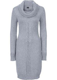 Вязаное платье с высоким воротом (серый меланж) Bonprix