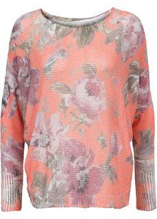 Вязаный пуловер с рисунком (коралловый/бордовый в цветочек) Bonprix