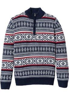 Пуловер Regular Fit с узором в норвежском стиле (темно-синий/кремовый/темно-красный с узором) Bonprix