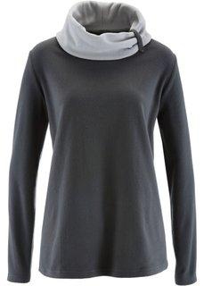 Флисовый свитер с длинным рукавом (шиферно-серый) Bonprix