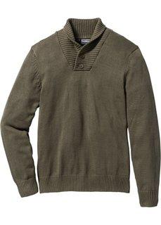 Пуловер Slim Fit (темно-оливковый) Bonprix
