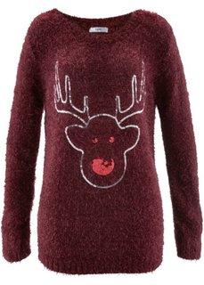 Пуловер с длинными рукавами (клубничный) Bonprix