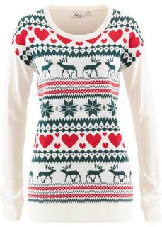 Пуловер с норвежским рисунком (цвет белой шерсти с узором) Bonprix