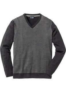 Пуловер Regular Fit с V-образным вырезом (антрацитовый меланж) Bonprix