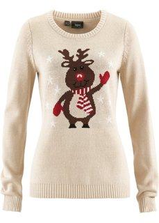 Пуловер с круглым вырезом (бежевый) Bonprix