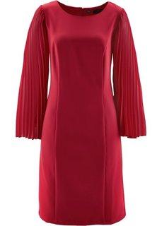 Платье с плиссированными рукавами (темно-красный) Bonprix