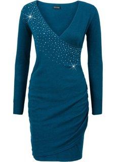 Вязаное платье с аппликацией из стразов (серо-синий) Bonprix