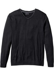Пуловер Regular Fit с кашемиром (черный) Bonprix