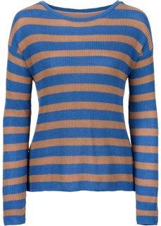 Пуловер с шифоновой вставкой (голубой/светло-кофейный в полоску) Bonprix