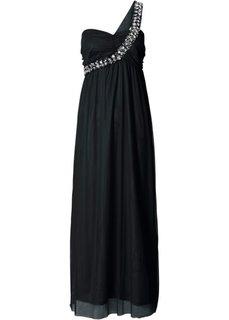 Макси-платье на одно плечо (черный) Bonprix