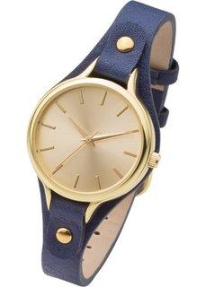 Часы на узком браслете (синий/золотистый) Bonprix