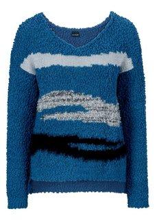 Вязаный пуловер (серо-синий с узором) Bonprix