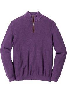Пуловер Regular Fit с высоким воротом на молнии (виноградный) Bonprix