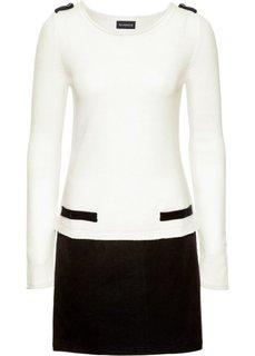 Вязаное платье (цвет белой шерсти/черный) Bonprix