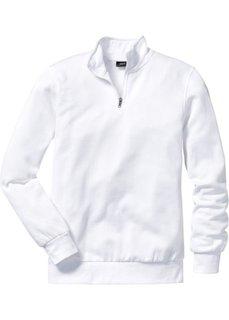 Свитшот стандартного покроя с воротником на молнии (белый) Bonprix