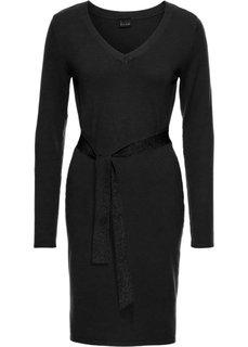 Вязаное платье с поясом в талии (черный) Bonprix