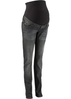 Мода для беременных: джинсы с прямыми узкими брючинами (черный «потертый») Bonprix