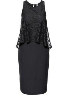 Платье с кружевной отделкой (черный) Bonprix