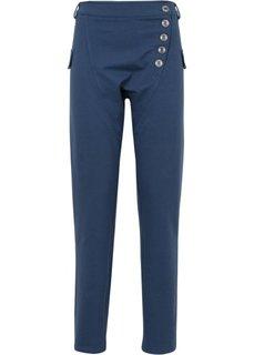 Трикотажные брюки с линией пуговиц сбоку (индиго) Bonprix
