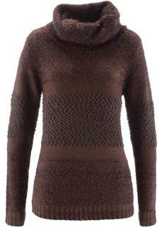Пуловер с высоким воротом (темно-коричневый) Bonprix
