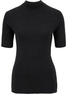 Пуловер с воротником-стойкой (черный) Bonprix