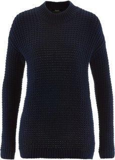 Пуловер с воротником-стойкой и структурным узором (темно-синий) Bonprix