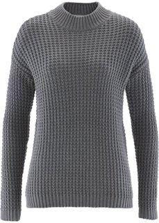 Пуловер с воротником-стойкой и структурным узором (светло-серый меланж) Bonprix